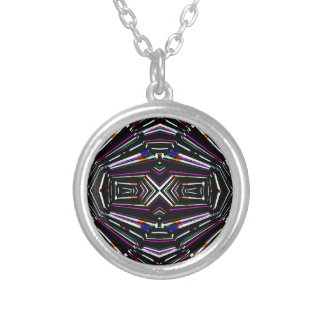Dark Ethnic Sharp Bold Pattern Silver Plated Necklace