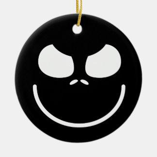 Dark Evil Smiley Face Round Ceramic Decoration