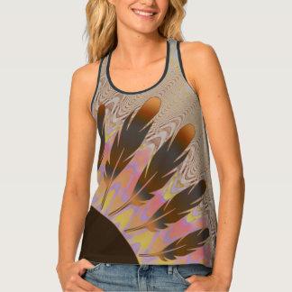 Dark Feather Sun and Wavy Rainbow Chevron Tank Top