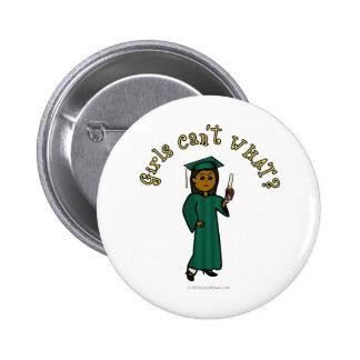 Dark Female Graduate in Green Cap and Gown Pinback Button