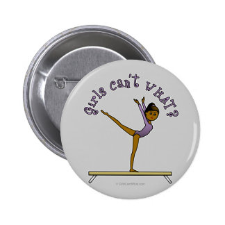 Dark Female Gymnast on Balance Beam 6 Cm Round Badge