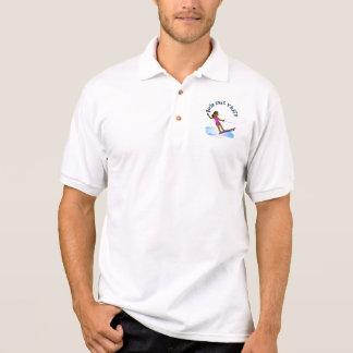 Dark Female Water Skier Polo T-shirts