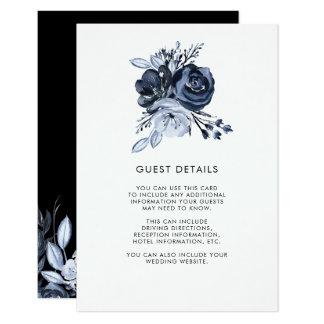 Dark Floral | Black Watercolor Guest Details Card