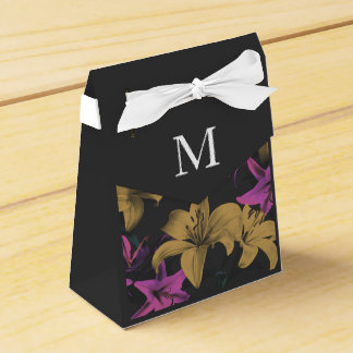 Dark Floral Custom Monogram Wedding Favor Box