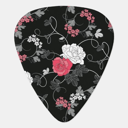 Dark Floral Guitar Pick
