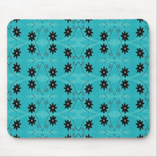 dark floral on turquoise mouse pad