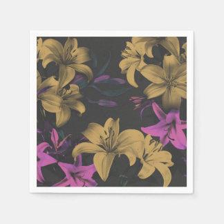 Dark Floral Paper Napkins