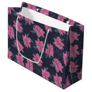 Dark floral pink lush flowers pattern large gift bag