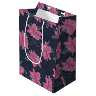 Dark floral pink lush flowers pattern medium gift bag