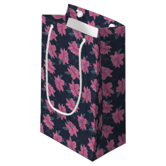 Dark floral pink lush flowers pattern small gift bag