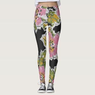Dark Floral Print Leggings