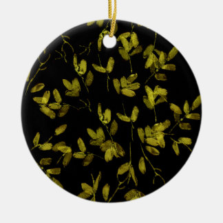 Dark Floral Print Round Ceramic Decoration