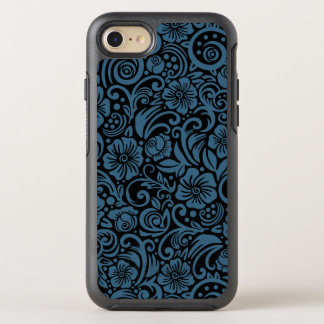 Dark Floral Steel Blue iPhone Case