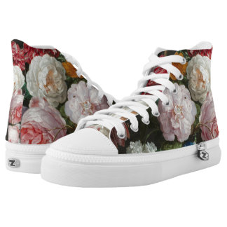 Dark Floral Still Life High Top Sneakers
