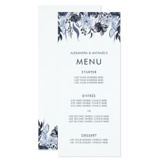 Dark Floral | Watercolor Wedding Menu Card