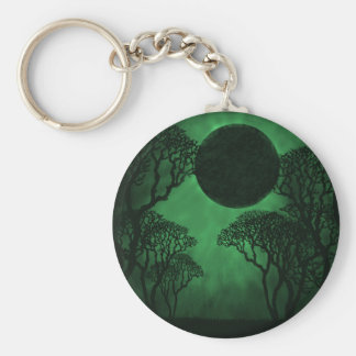 Dark Forest Eclipse Keychain, Green Key Ring