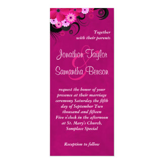 "Dark Fuchsia Floral 4"" x 9.25"" Wedding Invites"