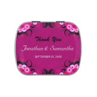 Dark Fuchsia Floral Square Wedding Favor Candy Tin