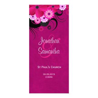 Dark Fuchsia Floral Wedding Program Template Card Rack Card Design