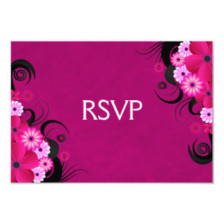 Dark Fuchsia Floral Wedding RSVP Response Cards