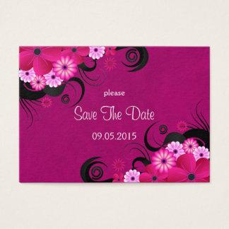 Dark Fuchsia Floral Wedding Save The Date Cards