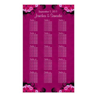 Dark Fuschia Floral 15 Wedding Table Seating Chart