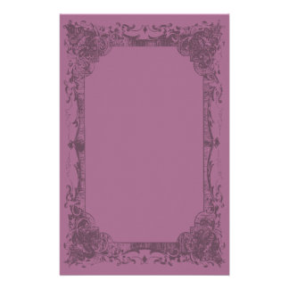 Dark Fuschia Romantic French Flourish Stationery