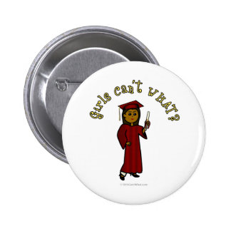 Dark Girl Graduate in Red Cap and Gown 6 Cm Round Badge