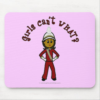 Dark Girl in Red Marching Band Uniform Mousepads