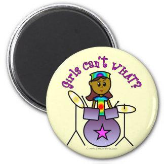 Dark Girl Playing Drums Magnet