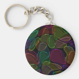 Dark Glass Basic Round Button Key Ring