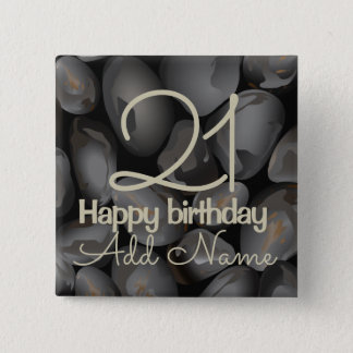 Dark glossy pebbles 15 cm square badge