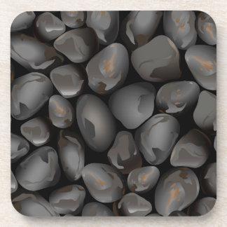 Dark glossy pebbles coaster