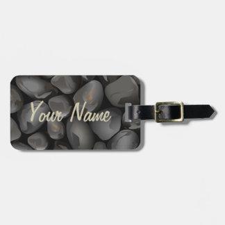Dark glossy pebbles luggage tag