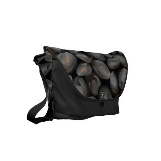 Dark glossy pebbles messenger bag