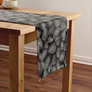 Dark glossy pebbles short table runner
