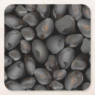 Dark glossy pebbles square paper coaster
