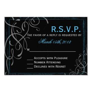Dark Glowing Blue Elegance - RSVP Card