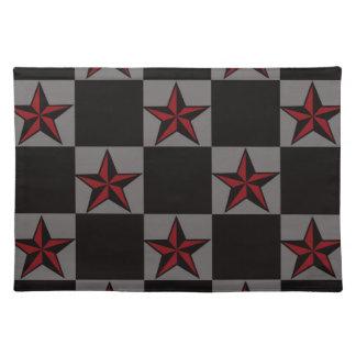 Dark Goth Star Pattern Place Mat