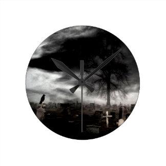 Dark Gothic Fog With Crow Round Clock