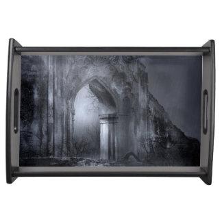 Dark Gothic Ruins Archway Serving Tray