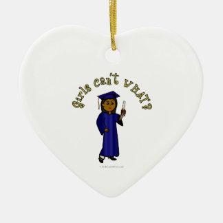 Dark Graduate in Blue Ceramic Heart Decoration