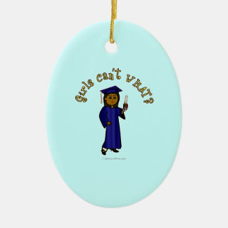 Dark Graduate in Blue Christmas Tree Ornament