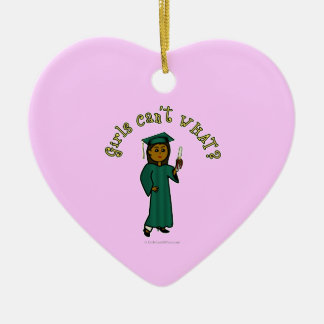 Dark Graduate in Green Ceramic Heart Decoration