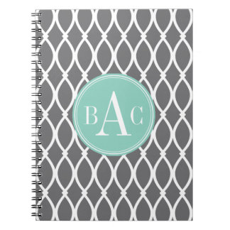 Dark Gray and Mint Monogrammed Barcelona Print Spiral Notebook