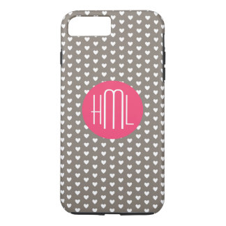 Dark Gray and Violet Red  Heart Pattern Monogram iPhone 7 Plus Case