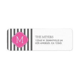 Dark Gray and White Modern Stripes with Monogram Return Address Label