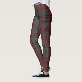 Dark Gray Black Red Giant Tartan Plaid Leggings