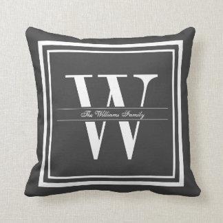 Dark Gray Border Monogram Throw Cushions