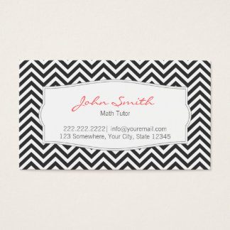 Dark Gray Chevron Stripes Math Tutor Business Card